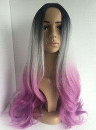 Wholesale kanekalon cosplay wig - cheap good quality synthetic ombre Black grey pink cosplay color wigs 26'' kanekalon Long Curly wig with bangs for sale