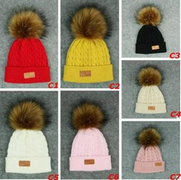 Wholesale Warm Hats For Kids - Unisex For Girls Boys Children Winter Fur Pompoms Ball Baby Warm Beanies Cap Kids Knitted Pompom Hat Xmas Gifts for Baby Free Shipping