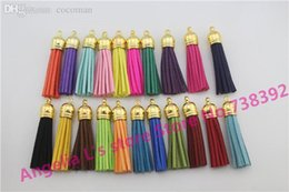 Wholesale Tassel Mobile - Wholesale-100 Tassels 58MM Leather Tassel Charm For Jewelry Gold Cap Cell Mobile Phone Straps Fuax Suede