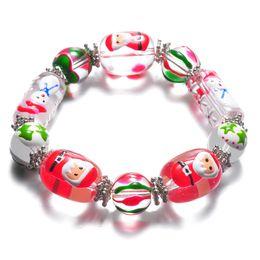 Wholesale Handmade Glass Beaded - Fashion Colorful Beaded Bracelet European & American Style Stars Santa Christmas Gift DIY Handmade Jewelry Glass Bracelet