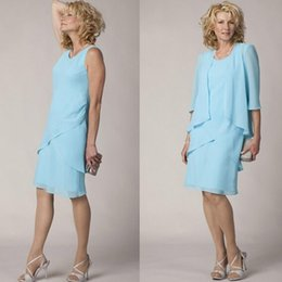 Wholesale Champagne Half Jackets - High Quality Light Blue Chiffon Mother of the Bride Groom Dress Formal Wedding Party Dresses with Half Sleeve Jacket Wedding Guest Gown