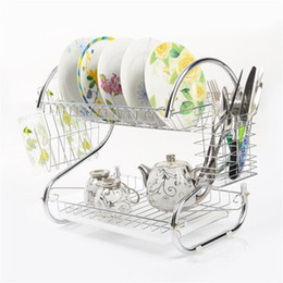 Wholesale kitchen dish drainer - 2 Tiers Kitchen Dish Cup Drying Rack Drainer Dryer Tray Cutlery Holder Organimaking your space more neatzer