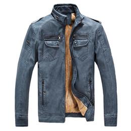 Moda hombre PU chaqueta de cuero Otoño Invierno chaqueta de los hombres de cuero más paño grueso y suave lavado Vintage abrigo de cuero desde fabricantes