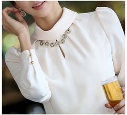Wholesale Collar Decorated Ladies - Wholesale-Diamond Decorated Stand Collar Puff Sleeve Sexy Women Chiffon Blouse Size S-3XL Candy Colors Autumn Office Lady Work Shirts