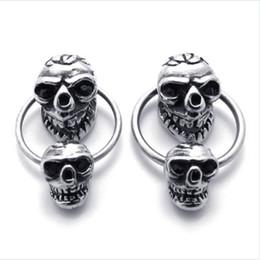 Wholesale Earrings Skull Color - 1 Pair Vintage Stainless Steel Skull Mens Stud Earrings Set Color Silver Black Drop Shipping