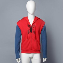Wholesale Cosplay Spiderman Costume - Spider-Man Homecoming Cosplay Superm FullZip Pullover Hoodies Men Sweatshirt SpiderMan cosplay Jacket