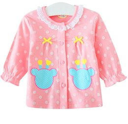Wholesale Toddler Lace Cardigans - Homewear For Baby Girls Lace Round Collar Toddler Cardigan 100% Cotton Long Sleeve Children Pajamas Tops Three Color 80-110 Fit 1-4Age K506