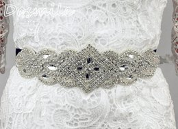 Wholesale Clear Beaded Sash - New Fashion elegant clear crystal Bridal belt Wedding formal Dress black ribbon belt Beading Sashes clothes accessories