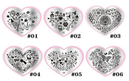 Wholesale Heart Shape Nail Art - Heart Shape 28styles DIY Polish Beauty Charm Nail Stamp Stamping Plates 3d Nail Art Templates Stencils Manicure Tools 01-28
