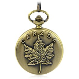 Wholesale Watch Import Japan - high quality new Canadian flag Import movement Chain Full Hunter Japan Quartz pocket watch necklace vintage gift