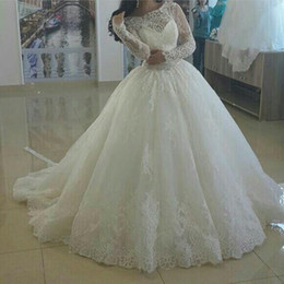 Wholesale Transparent Lace Ball Gown - Sheer Wedding Dresses 2015 Crew Neckline Lace Appliques Beading Vintage Long Transparent Sleeve Ball Gown Bridal Dresses