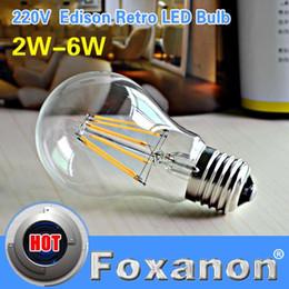 Wholesale E14 Candle Dim - Foxanon Brand E27 LED Filament Light Glass Housing Blub Lamps 220V 2W 4W 6W 360 Degree Retro Dimming Candle Lighting