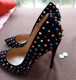 Wholesale Ladies Purple Pumps - 2018 style high quality women Red high heels shoes rivets purple patent heels lady wedding shoes high heels shoes+logo+box