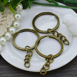 Wholesale Key Ring Split Bronze - Wholesale 50pcs 25X30mm Split Ring Key Ring & Key Chain Antique Bronze Double Loops Jump Rings Jewelry Findings