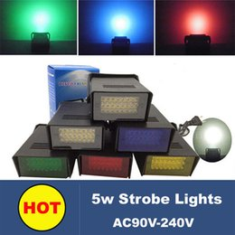 Wholesale 4pcs Blue Dj - Wholesale-4pcs lot 5W LED Mini Flash Strobe stage lights with Blue Red Green White lighting disco DJ equipment nice stage effect lights