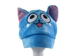Wholesale Japanese Anime Kids Costume - NEWON Hot Sales Fairy Tail Happy Cosplay Party Costume Cute Unisex Adults Kids Soft Plush Hat Beanies Cap Gifts Free Shipping