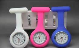 Wholesale Mix Nurses Watches - New Colorful Nurse Brooch Fob Tunic Watch Silicone Cover Nurse Watch mix Colors F0032
