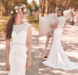 Wholesale White Sleeveless Crop Top - 2018 Modest Two Pieces Lace Mermaid Wedding Dresses Sweep Train Crop Top Wedding Dress Simple Country Beach Bridal Gowns