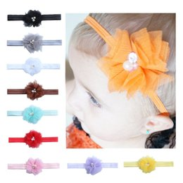 Wholesale Headbands Hair Nets - Fashion Pure Colors Headbands Net Yarn Flowers Elastic Hair Band With Pearl Diamond Baby Headwrap Popular 0 8ml B