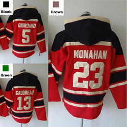 Wholesale 23 Sweatshirt - 2016 New, Mens Ice Hockey 5 Mark Giordano Calgary Ice Hockey Jersey Hoody 13 Michael Cammalleri 23 Sean Monahan Hooded Sweatshirts