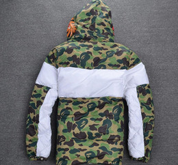 Wholesale Men Slim Winter Jackets - Winter Fashion Warm ma1 Jacket kanye west Long Men Jacket Hip Hop Style Thick Camo apes Jackets Coats