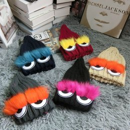 Wholesale Evil Eyes Baby - 2016 Hot Fashion Children Knitted Little Monster Evil Eyes Cotton Baby Hats Boys Girls Kids Headwear Crochet Costume Hats