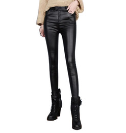 Wholesale Leather Leggings Large - Autumn Thin PU leather pants women leggings large pants slim elastic pencil pants women leggings pant