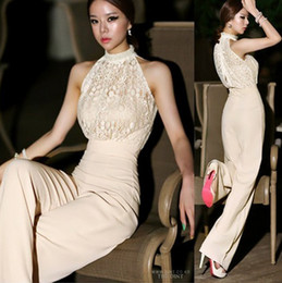 Wholesale high waist harem - 2015 Sexy Lace Jumpsuits for Women Korea halter pearl collar strapless High waist stitching lace chiffon Loose harem Jumpsuit Rompers pants