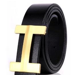 Wholesale Ceinture Genuine Leather - H buckle belts Man belt letter solid copper buckle cowhide leather young male pure genuine leather belt luxury brand belt ceinture