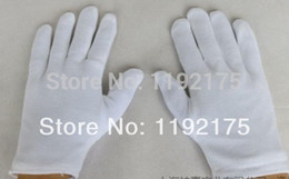 Wholesale Driver Gloves - Wholesale-12 pairs lot Thick] Cotton white gloves ceremonial gloves Driver Jewelry Full cotton gloves suck hands sweat anti-fingerprint