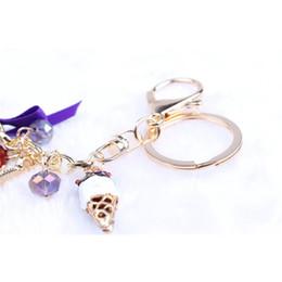 Wholesale Laduree Keychain - Novelty Keychain!Fashion Rhinestone Cake Macarons France LADUREE Key Chains Holder Charm Women Bag Decoration Jewelry Gift R011