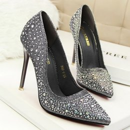 Wholesale Korean Shoes Pumps - 2016 Korean fashion woman sweet high-heeled shoes with thin shallow mouth pointed shoes wedding shoes
