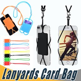 Wholesale Wholesale Mobile Phones Cards - Credit ID Card Bag Holder Silicone Lanyards Neck Strap Necklace Sling Card Holder Strap For iPhone X 8 Universal Mobile Cell Phone