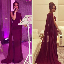 Wholesale Evening Wear Shawls Black - 2016 Burgundy Evening Dresses 2015 Formal Party Wear with Cape Shawl Mermaid Prom Gowns Bateau Vintage Maroon Cheap High Quality Dress