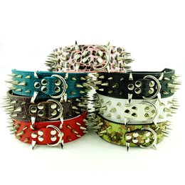 Wholesale Collars For Big Dogs - MOQ:30pcs Pitbull Leather Spiked Studded Dog Pet Collars for Big Dog XL L M S