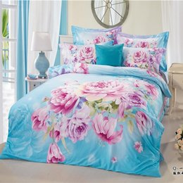 Wholesale Light Blue Purple Bright Colored Flower Peony Bedding Set Queen Size King Size Pure Cotton Bed Sheet Quilt Cover Pillow From Dropshipping