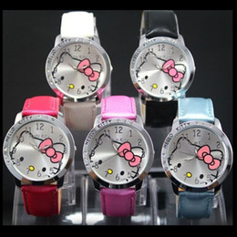 Wholesale Girl Hour - Fashion Cute Kitty Cat Watches Girls Children Cartoon Cute Hour Quartz Watch 8 colors Leather Women Dress Kids Watches mujer relojes
