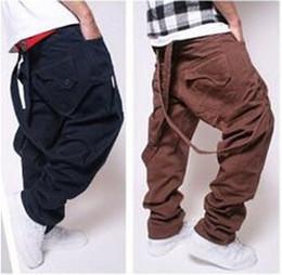Wholesale Korean Bib - Wholesale-Korean Fashion Mens Hip Hop Pants Plus Size Street Dance Pants Loose Baggy Bib Overalls Men Women Skateboard Cargo Pants