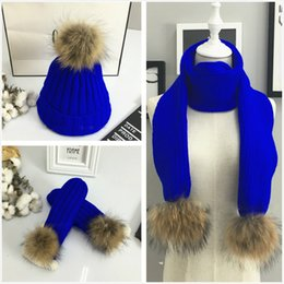 Wholesale Wholesale Gloves Hats - High Quality Hat lady knit cap tide winter pearl wrap warm winter Hats, Scarves & Gloves Sets