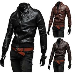 Wholesale Cheap Winter Leather Jackets - Top Selling Cheap Male Motorcycle Leather Jacket Winter Warm Jackets Male Short Coats Multi Zipper Waterproof Fashion Designer Jackets