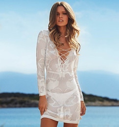 Wholesale White Knit Bikini - NEW 2015 Fashion Swimwear Summer Beach Cover Up Sexy Swimsuit Cover Ups Bikini Knit Hollow Outfits Beach Shirt Women Beach wear