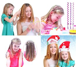 Wholesale Children Hair Pieces - parent-child Headpieces Colorful Kids And Adult Elastic Hair ties Hair ring holoday gifts Little fairy magic hair suit 6 pieces 7 inches