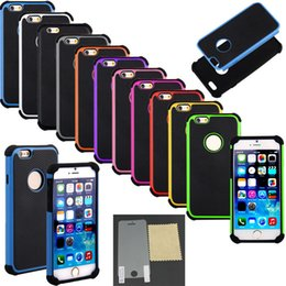 Wholesale Screen Protector Shock Iphone 4s - Hybrid Shock Proof Rugged Armor Defender Case Cases Cover for iPhone Air 4.7 Plus 5.5 5 5S 5C 4 4S Touch iTouch4 iTouch5 + Screen Protector