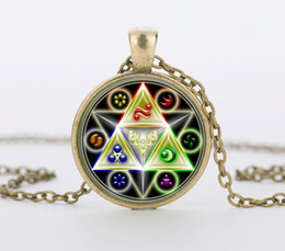 Wholesale Legend Zelda Jewelry - Legend of Zelda Triforce Glass Cabochon Pendant & Necklace bijouteriegift Jewelry CN-464
