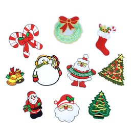 Wholesale Wholesale Christmas Iron Appliques - 10PCS Christmas Series Patches for Kids Clothing Shoes Iron on Transfer Applique Patches for Garment Dress Bags DIY Sew on Embroidery Badge