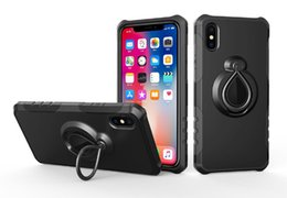 Wholesale Magnetic Films - For Iphone X Phone Case 360 Rotate Ring Stand Car Magnetic Film Hybrid Luxury Case For Iphone 8 7 Plus 6 Plus