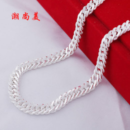 Wholesale Boyfriend Christmas Gifts - 925 sterling silver chain whip sideways fashion silver jewelry necklace chain men jewelery boyfriend birthday gift Valentine's Day gift