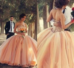 Wholesale Strapless Ball Gowns Prom - Puffy 2015 Sexy Ball Gowns Champagne Gold Cheap Quinceanera Dresses Crystals Long Strapless Backless Pageant Prom Dress Sweet 16 Tulle