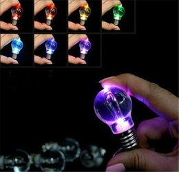 Wholesale Led Keychain Color - 100pcs Novelty LED Bulb Shaped Ring Keychain Flashlight Colorful Key Ring Keychain Lamp Rainbow Color Romantic Lover Key chain Bulb Necklace