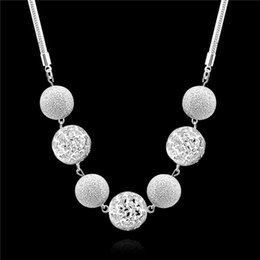 Wholesale Sterling Silver Chokers For Women - 2015 new design 925 sterling silver hollow ball chokers necklaces fashion jewelry beautiful wedding gift for woman free shipping